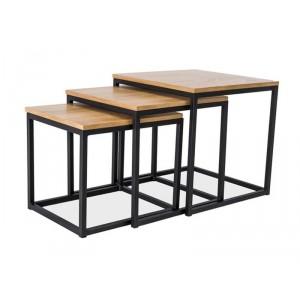 Комплект SIGNAL TRIO дуб/черный (3 стола журнальных)