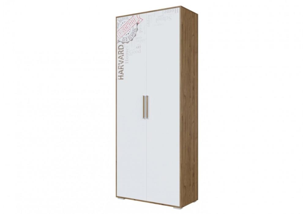 Шкаф SV-МЕБЕЛЬ (МС Гарвард) Гикори т./Белый, двухстворчатый, комбинированный