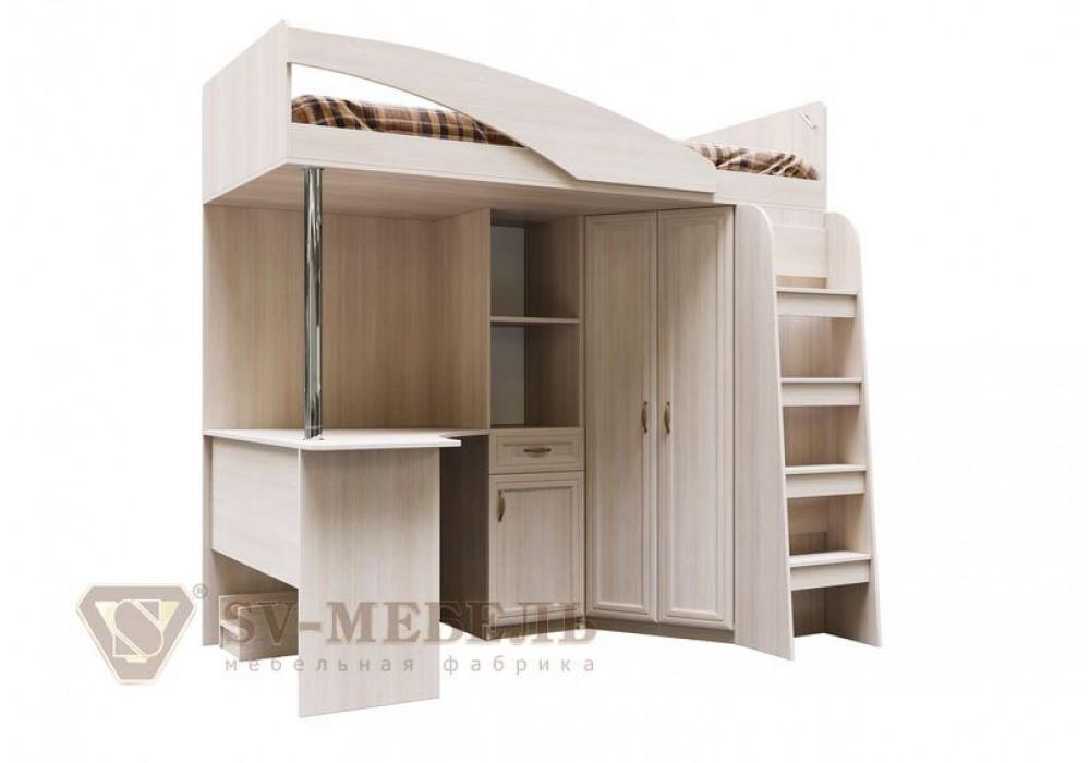Кровать двухъярусная комбинированная SV-МЕБЕЛЬ ДМ-15 (МС Вега К) Сосна Карелия 90/200