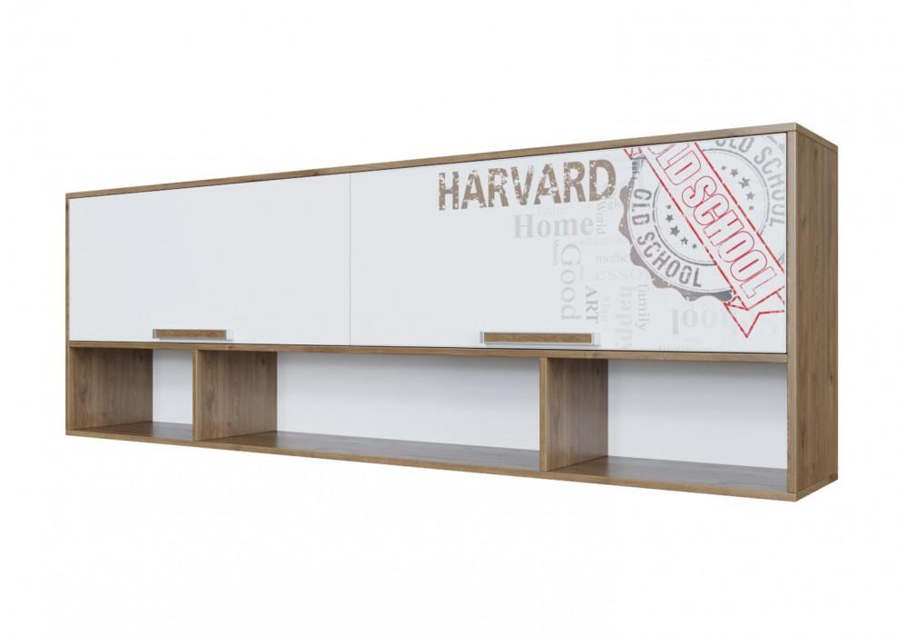 Полка навесная SV-МЕБЕЛЬ (МС Гарвард) Гикори т./Белый (над кроватью)