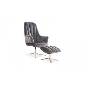 Комплект SIGNAL ADAMS VELVET BLUVEL 14 (кресло+подставка для ног) серый