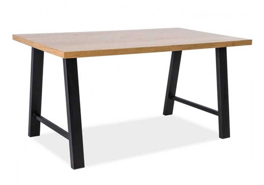 Стол обеденный SIGNAL ABRAMO дуб натуральный/черный, 150/90/77