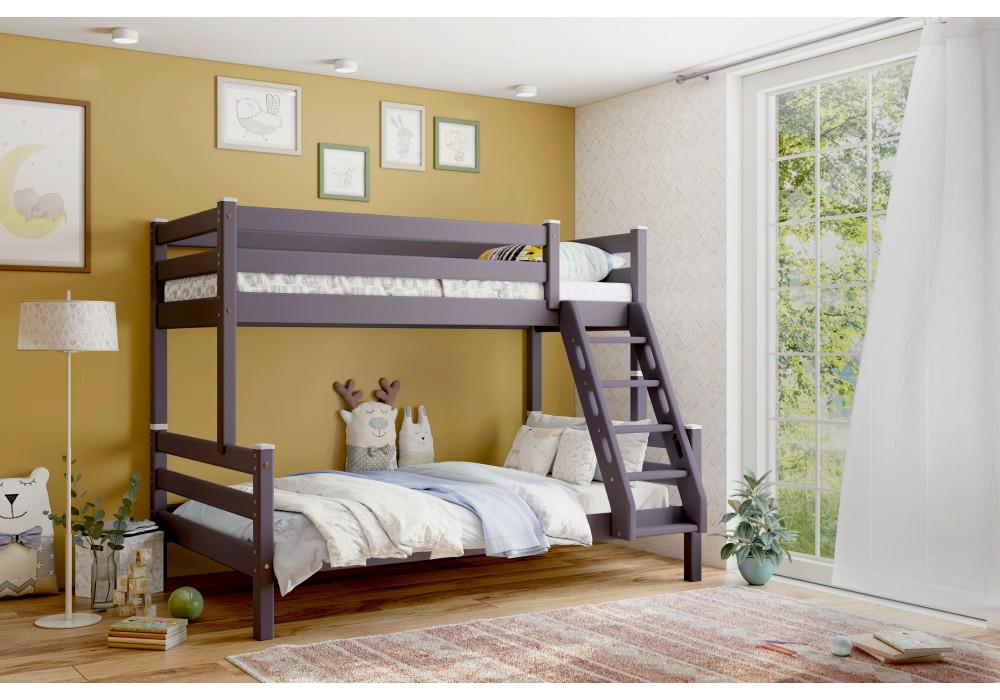 Кровать двухъярусная с наклонной лестницей Адель Лаванда