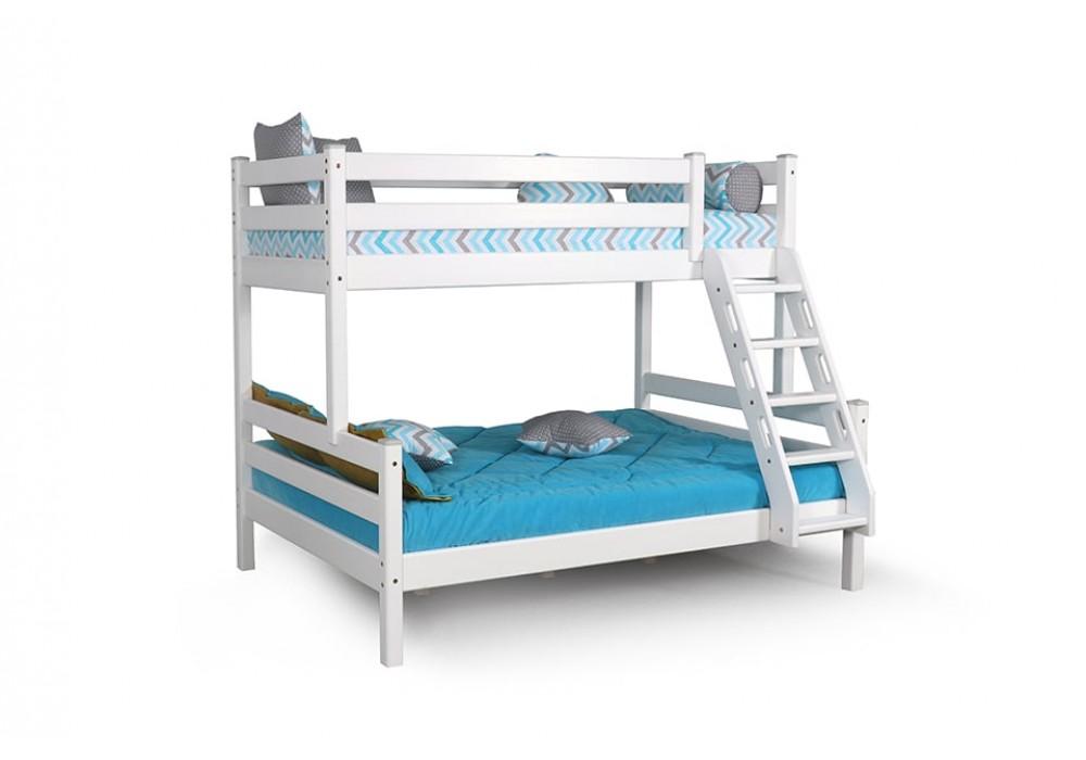 Кровать двухъярусная с наклонной лестницей Адель Белый полупрозрачный