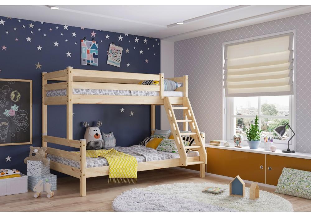Кровать двухъярусная с наклонной лестницей Адель Прозрачный