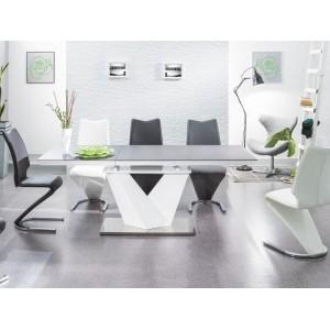 Стол обеденный Signal ALARAS II 120 раскладной (черный/белый лак)
