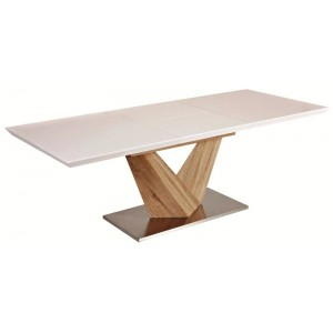 Стол обеденный SIGNAL ALARAS раскладной, белый лак\дуб сонома 140-200/85/75