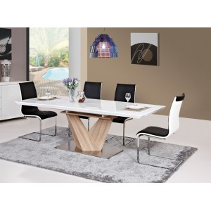 Стол обеденный SIGNAL ALARAS раскладной, белый лак\дуб сонома 160-220/90/75