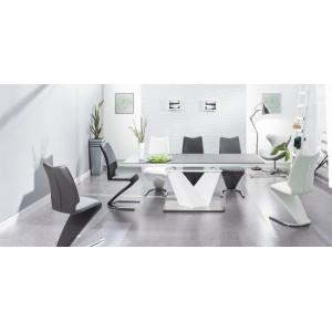 Стол обеденный SIGNAL ALARAS II 140 раскладной, черный/белый лак 140-200/85/76