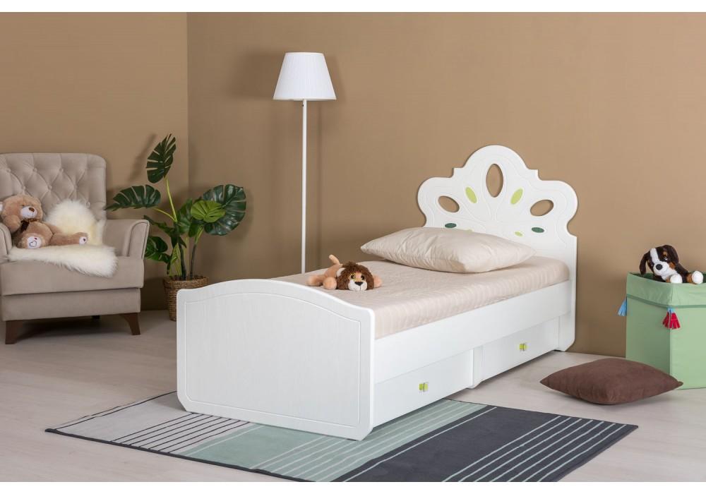 """Детская кровать """"Алиса"""" (Белый, структура """"поры дерева""""/ПВХ """"Ясень ваниль"""")"""