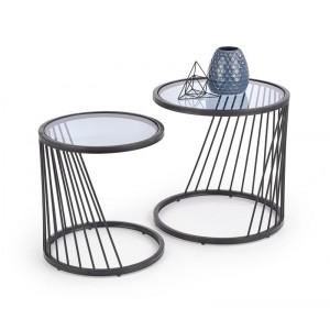 Комплект HALMAR ANTILLA (2 стола журнальных) дымчатый/черный, 50/50 и 42/45
