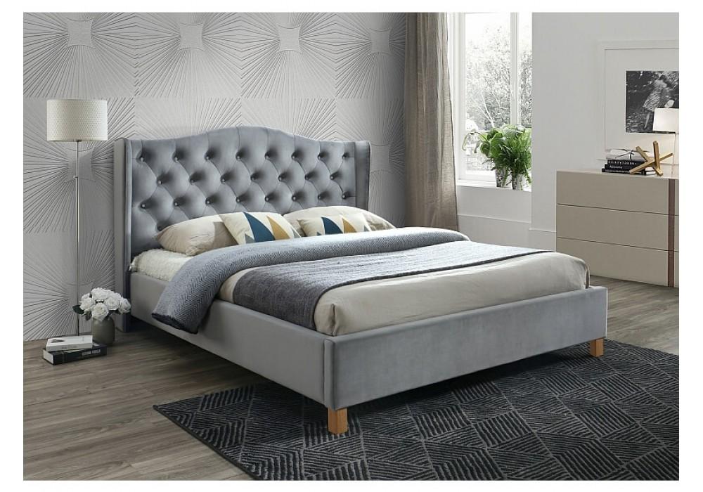 Кровать SIGNAL ASPEN VELVET BLUVEL 14 серый/дуб, 140x200