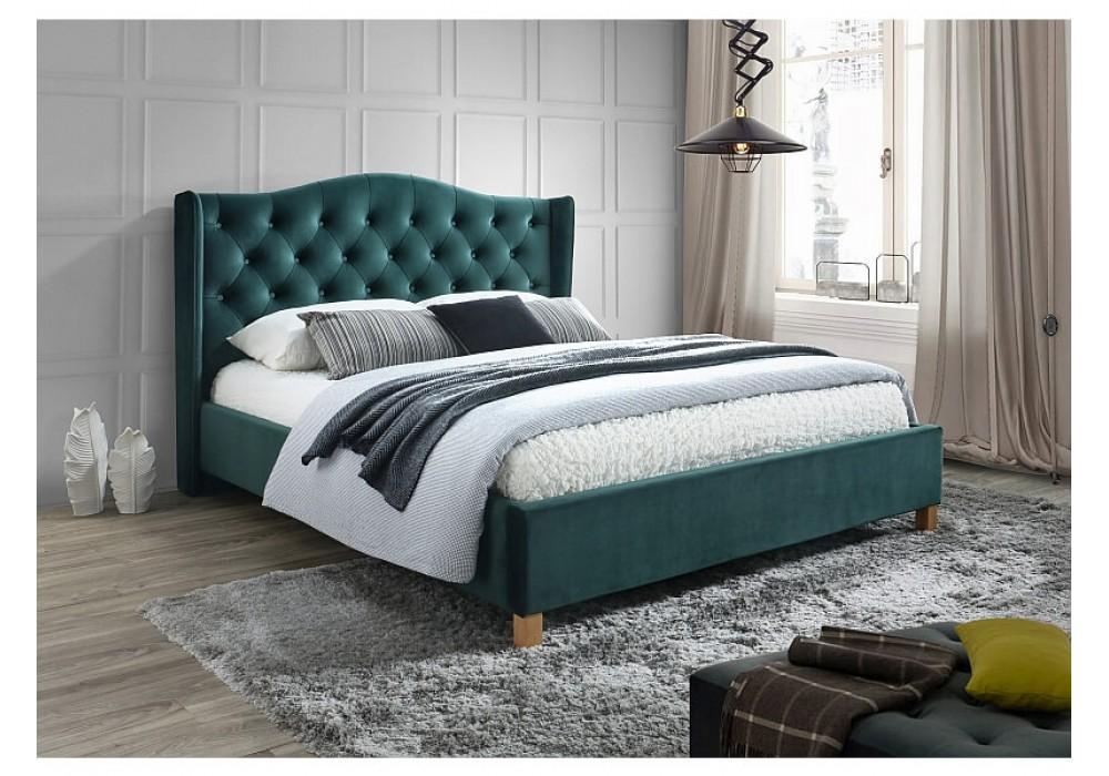 Кровать SIGNAL ASPEN VELVET BLUVEL 78 зеленый/дуб, 140x200