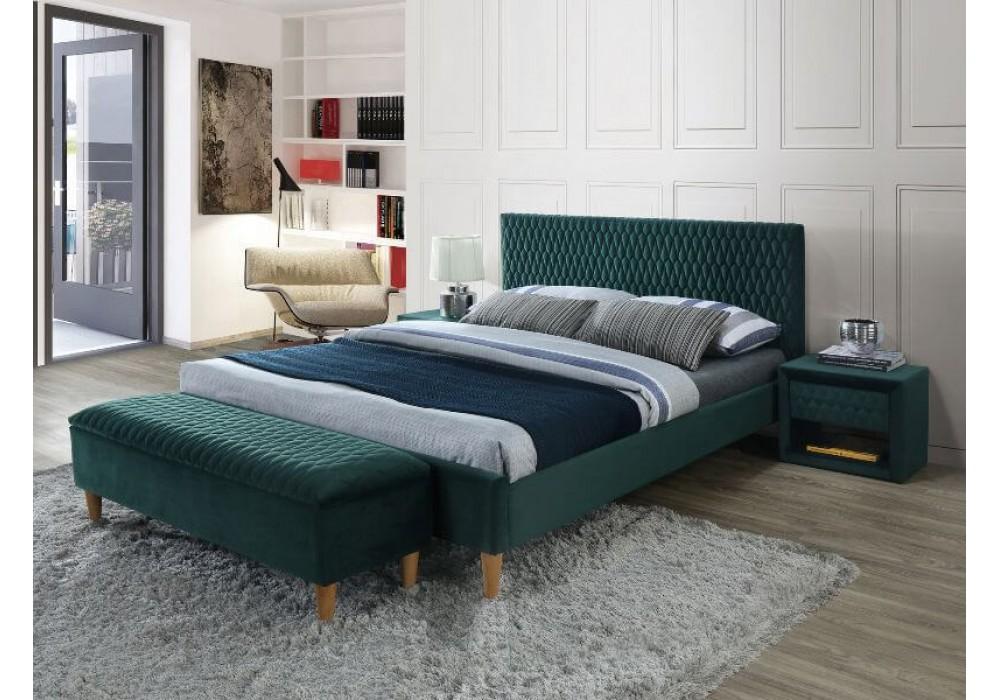 Кровать SIGNAL AZURRO VELVET BLUVEL 78 зеленый/дуб, 180X200
