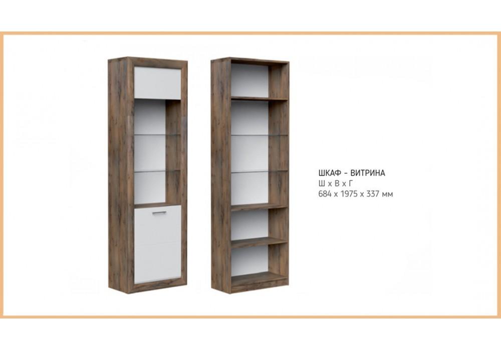 Шкаф с витриной Бергамо (Таксус/Орех лесной, Белый) фабрика Браво Мебель