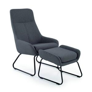 Комплект HALMAR BOLERO (кресло для отдыха + подставка для ног) серый