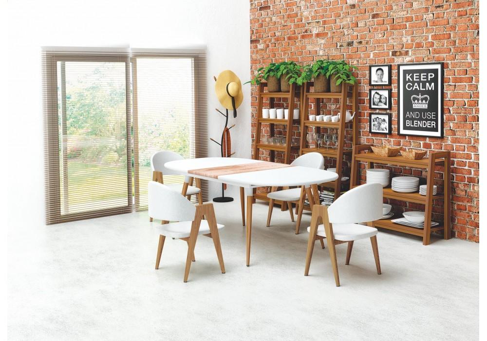 Стол обеденный HALMAR CALIBER раскладной, белый матовый/дуб сан ремо, 160-200/90/77