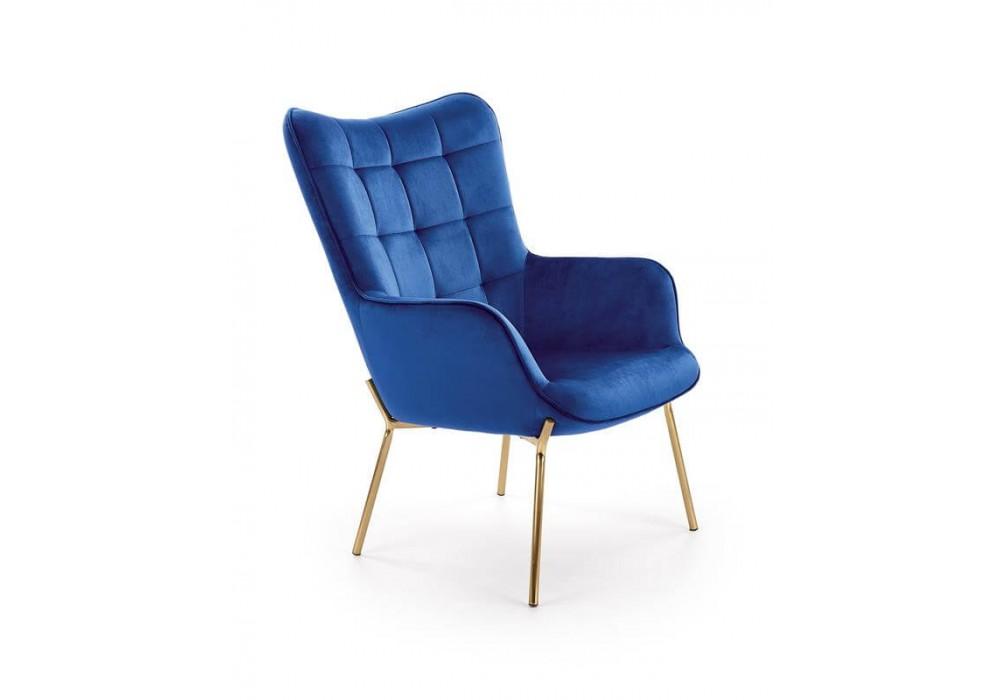 Кресло HALMAR CASTEL 2 темно-синий/золотой