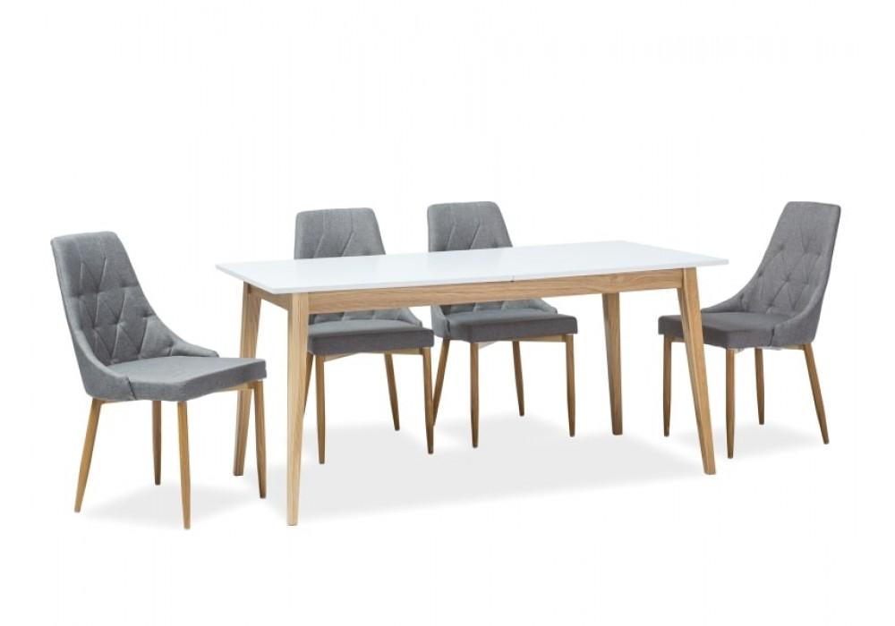 Стол обеденный SIGNAL CESAR 120 раскладной, белый/дуб, 120-165/68/75