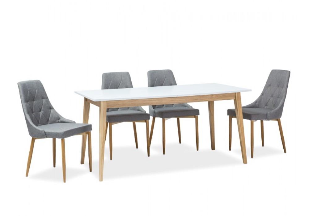 Стол обеденный SIGNAL CESAR 160 раскладной, белый/дуб 160-205/80/75