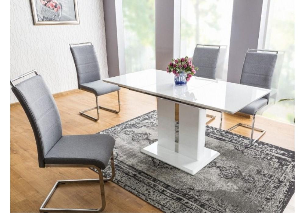 Стол обеденный SIGNAL DALLAS 110 раскладной, белый лак 110-150/75/76