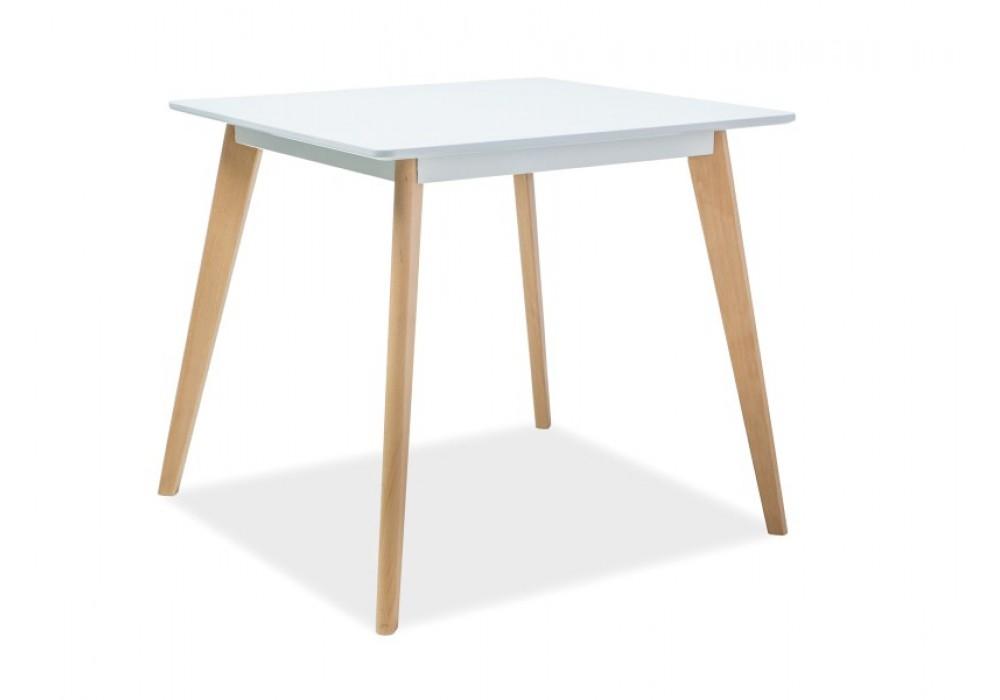 Стол обеденный SIGNAL DECLAN II 80 белый/бук, 80/80/75