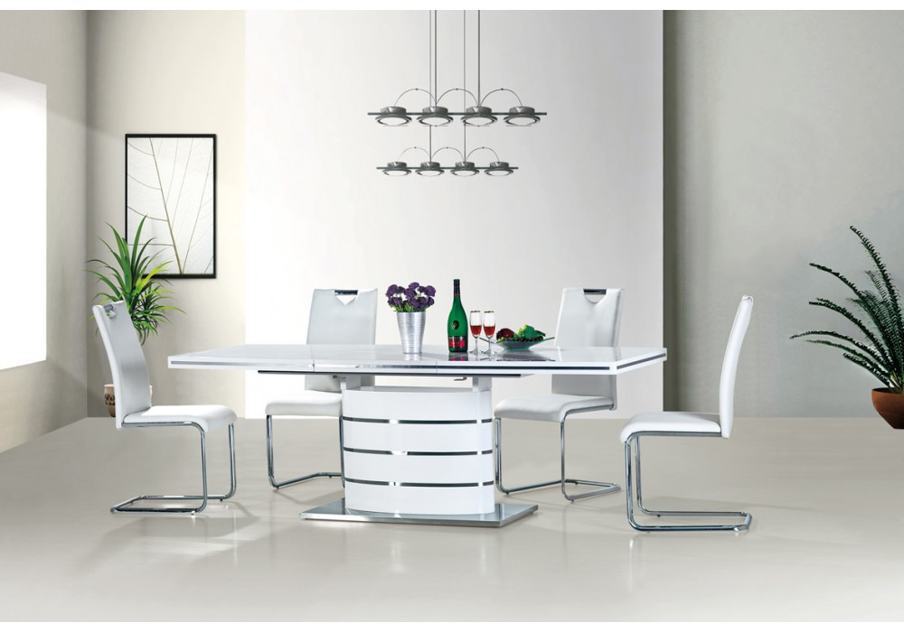 Стол обеденный SIGNAL FANO 160 белый лак, 160-220/90/77