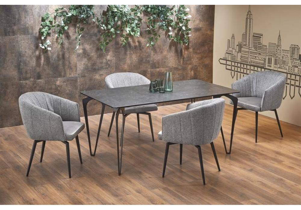 Стол обеденный HALMAR GREYSON темно-серый/черный, 160/88/75