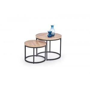 Комплект Halmar OREO, 2 стола журнальных (дуб сан ремо/черный)
