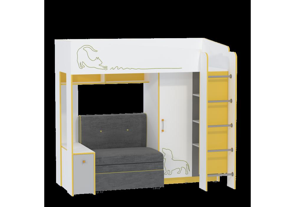 Кровать-чердак с диванным блоком МС Альфа 11.20 Солнечный