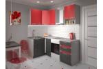 Угловая кухня Иволанд Трейд Ярко-красная 150-220-120 левая (красный/темное дерево)