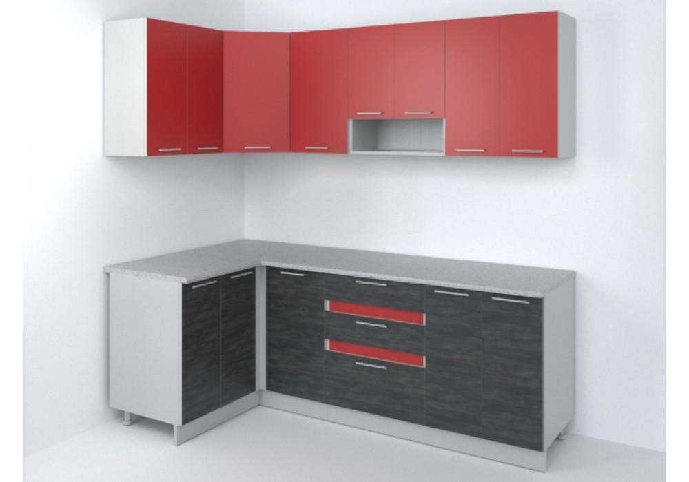 Угловая кухня Иволанд Трейд Ярко-красная 220-220-120 левая (красный/темное дерево)
