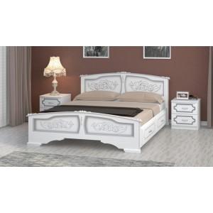 """Кровать """"Елена"""" белый жемчуг с 2 выдвижными ящиками 1400"""