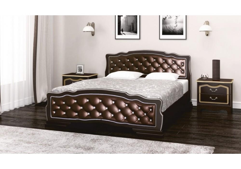 """Кровать """"Карина-10"""" 1400  (орех темный/ бриллиант)"""