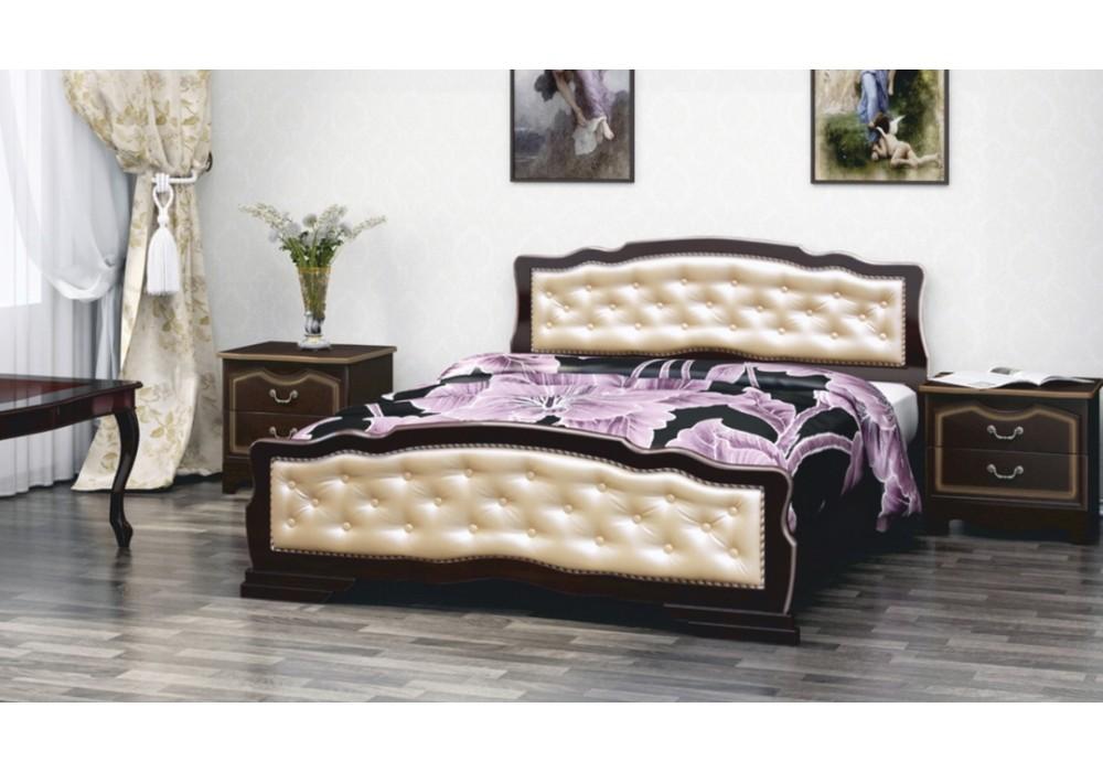 """Кровать """"Карина-10"""" 1400  орех темный/ светлая экокожа"""