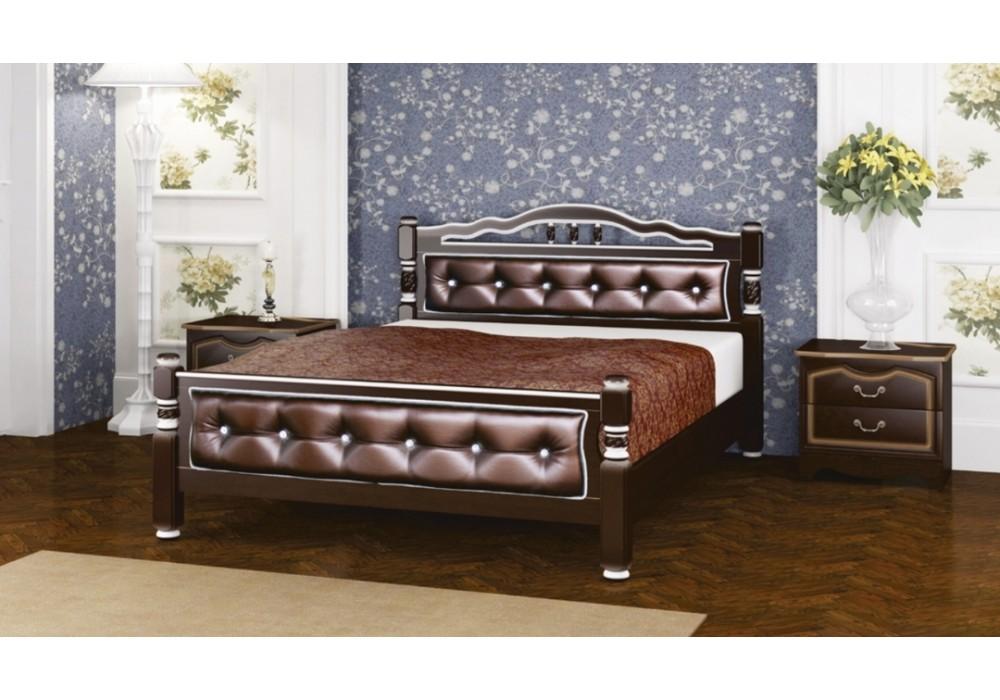 """Кровать """"Карина-11"""" орех темный бриллиант 1600"""