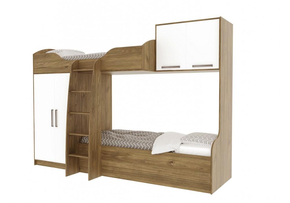 Кровать SV-МЕБЕЛЬ (МС ГАРВАРД) Гикори т./Белый двухъярусная (без фотопечати)