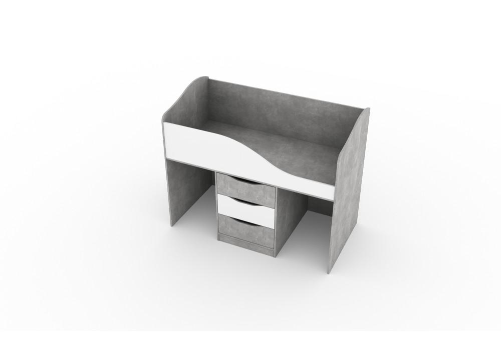 """Кровать трансформер (0,8*1,6) МC """"Миндаль""""  (Цемент светлый / Белый)"""