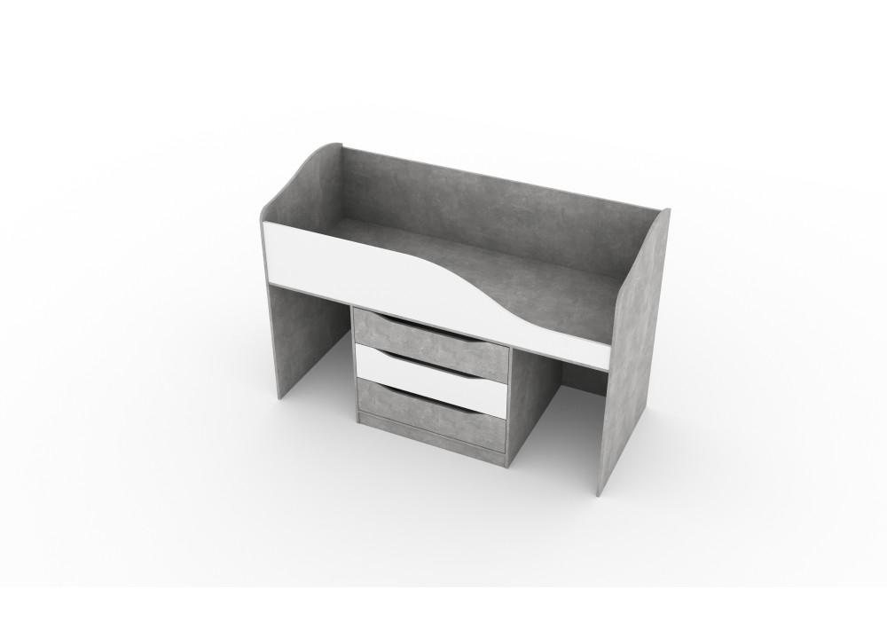 """Кровать трансформер (0,8*1,9) МC """"Миндаль""""  (Цемент светлый / Белый)"""