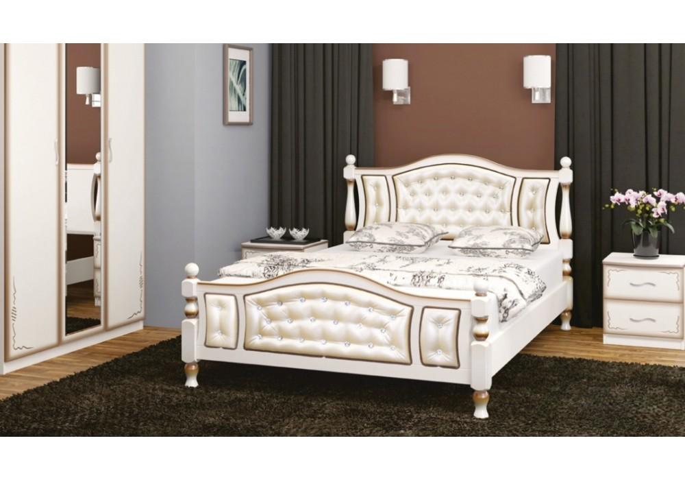 """Кровать """"Жасмин"""" 1600 (дуб молочный/светлая экокожа)"""
