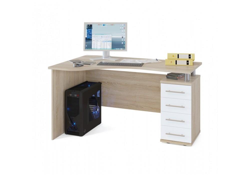 Стол компьютерный Сокол КСТ-104.1 дуб сонома/белый правый