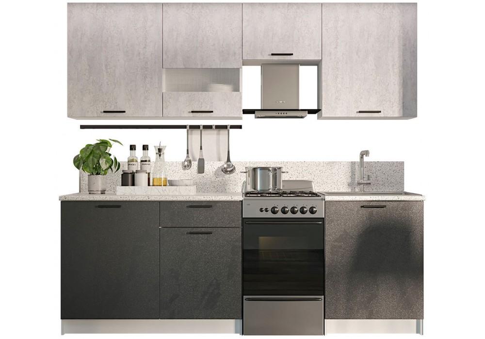 Кухонный гарнитур SV-МЕБЕЛЬ Лилия 1,7 (Белый/Цемент темный/Цемент светлый)