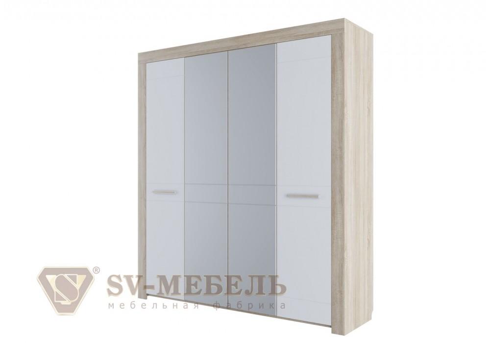Шкаф  четырехстворчатый МС Лагуна 6 SV-МЕБЕЛЬ (Дуб Сонома/Жемчуг )