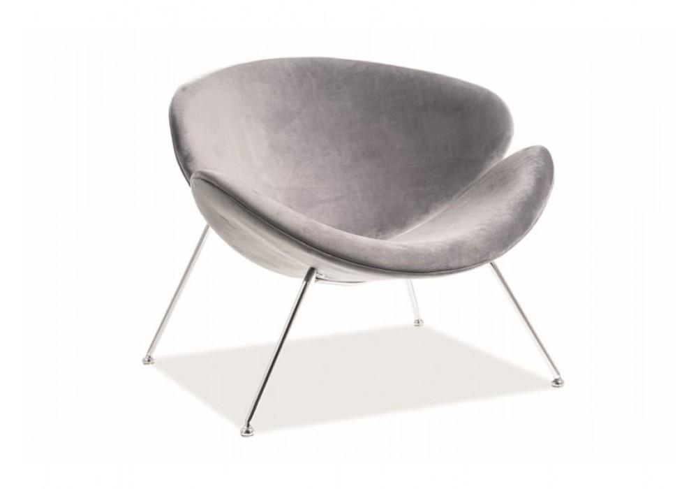 Кресло SIGNAL MAJOR VELVET Bluvel14, серый/хром