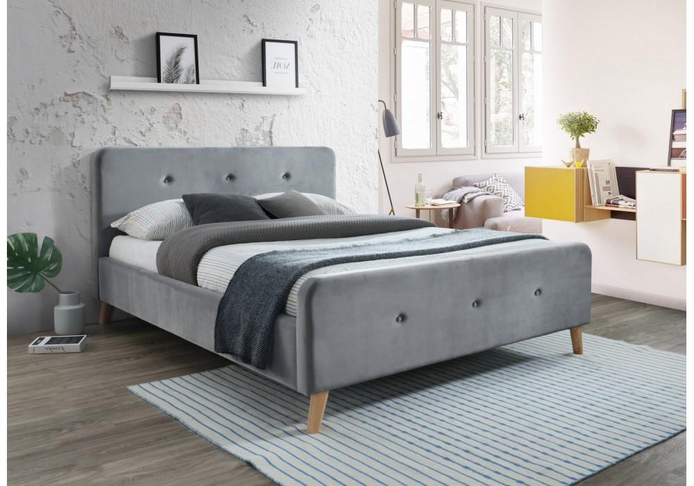Кровать SIGNAL MALMO VELVET серый, 160/200 NEW