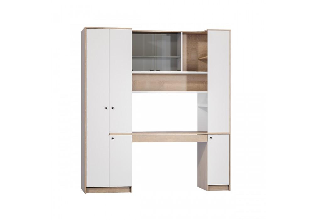 """Стол с системой хранения """"Микс-1""""(Дуб сонома/Белый)"""