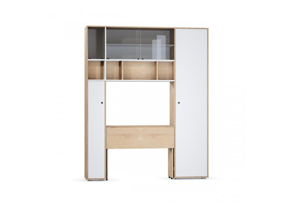 Стол с системой хранения Микс-2(Дуб сонома/Белый)
