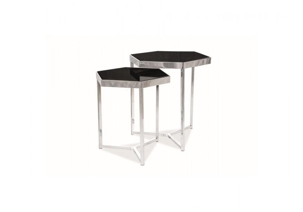 Комплект SIGNAL MILOS (2 стола журнальных) черный/хром