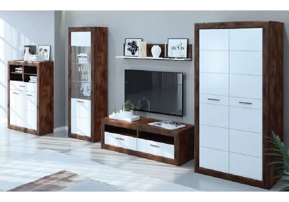 """Модульная   гостиная """"Бергамо""""( Таксус/Орех лесной, Белый)  фабрика  Браво Мебель"""