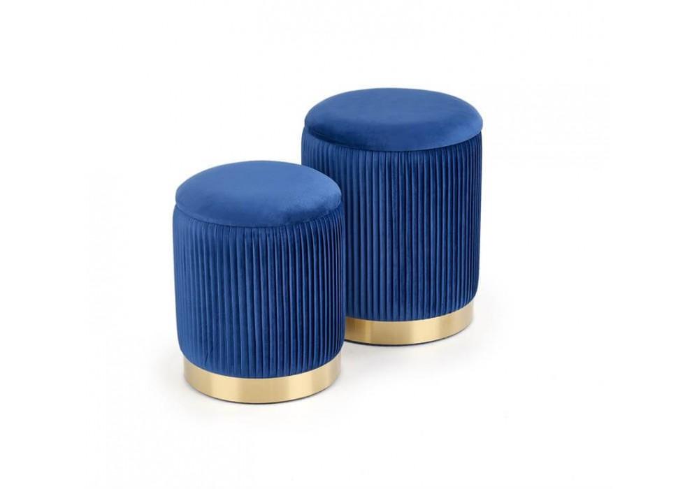 Комплект HALMAR MONTY (2 пуфа) темно-синий/золотой